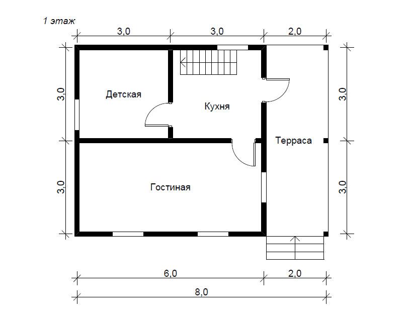 Дом 8х8 одноэтажный своими руками 53